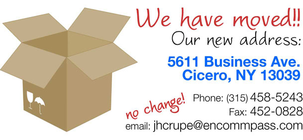 New address: 5611 Business Ave, Cicero NY 13039